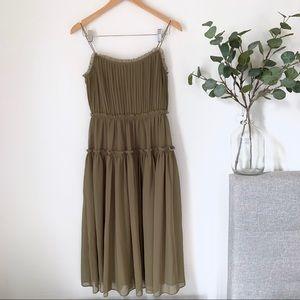 •Banana Republic• Olive Strappy Midi Dress